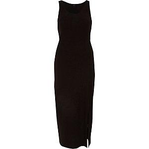 Zwarte mouwloze maxi-jurk met zijsplit