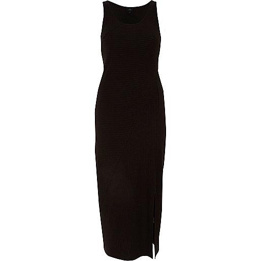 Black sleeveless side split maxi dress