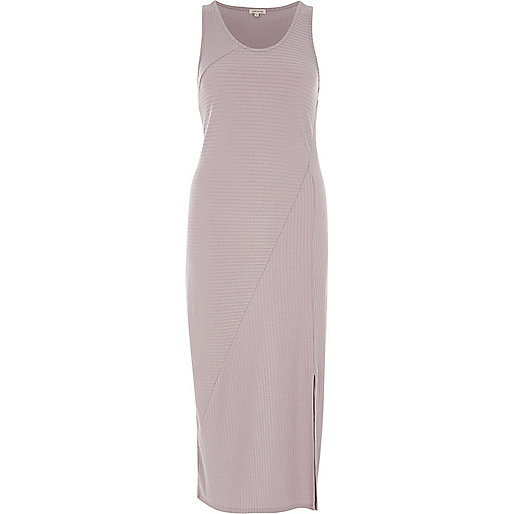 Purple rib panel sleeveless maxi dress