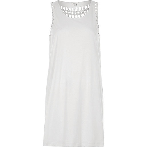 Cream plaited longline tank top