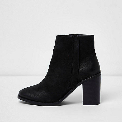 Black leather zip up block heel ankle boots