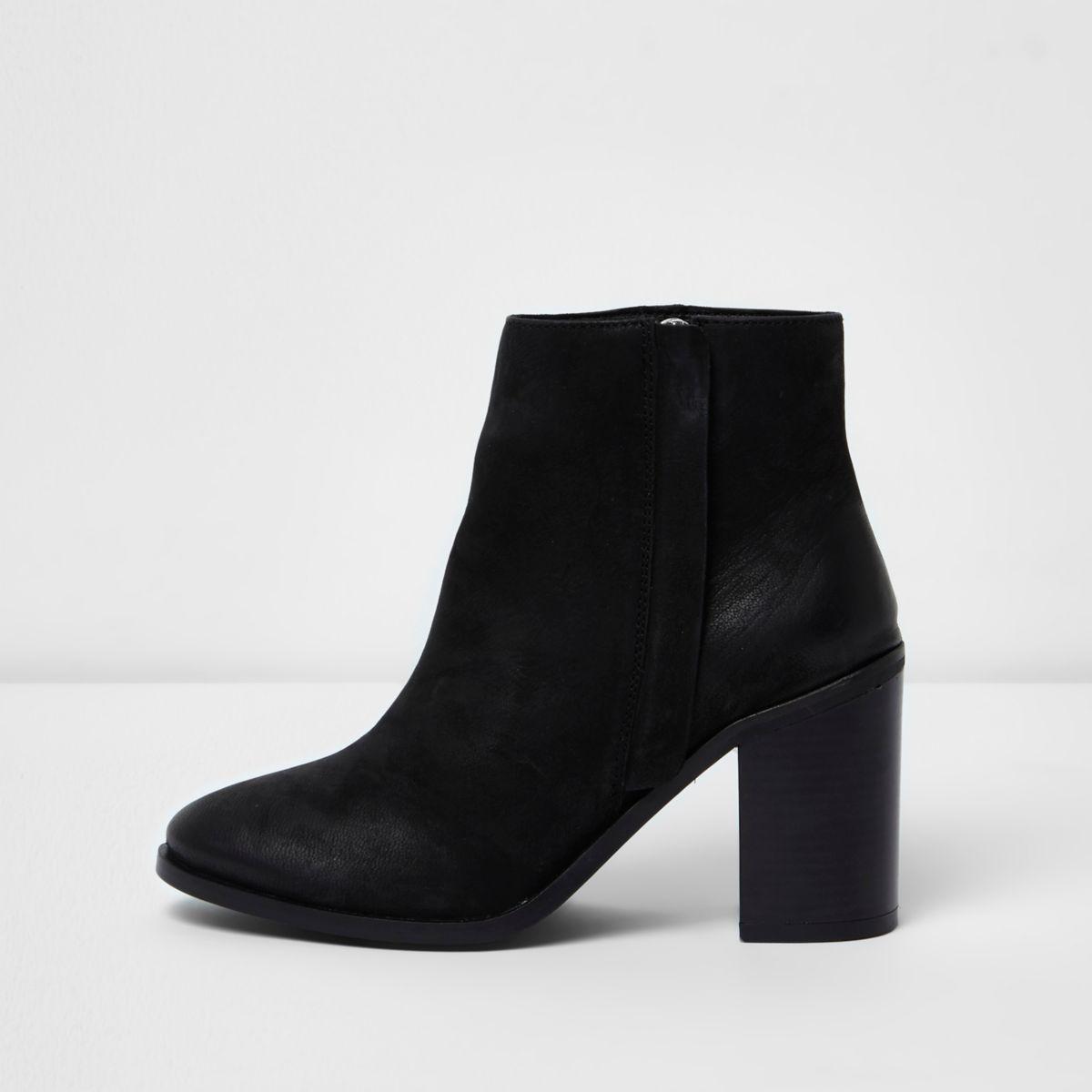 Black leather zip up block heel ankle boots