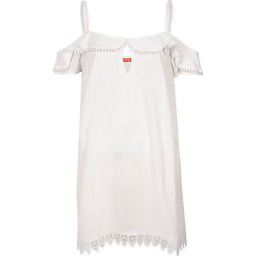 White frill cold shoulder beach dress