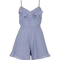 Blue stripe bow back cami romper