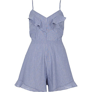 Blue stripe bow back cami playsuit