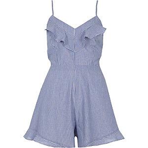 Blue stripe bow back cami playsuit