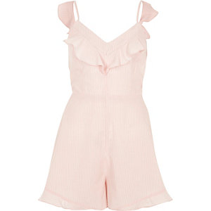 Pink stripe bow back cami romper