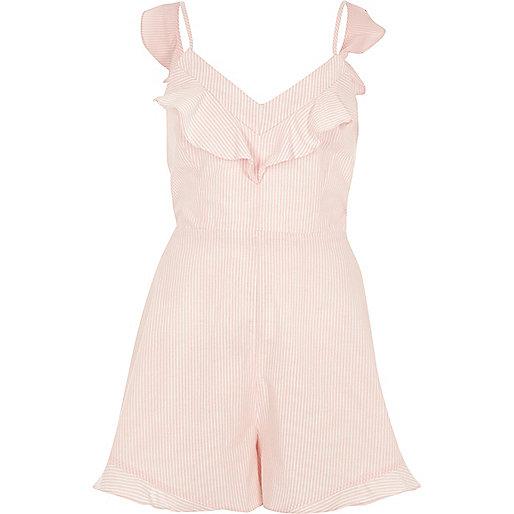 Pink stripe bow back cami romper