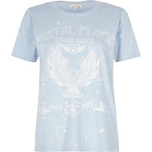 Blue 'Metal Flame' band print T-shirt