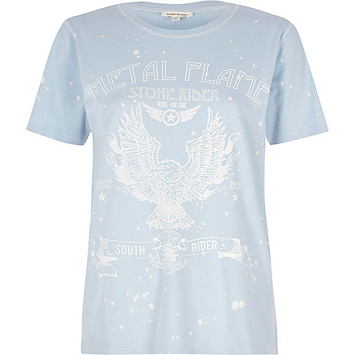 Blue 'Metal Flame' band print T-shirt