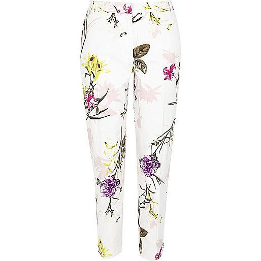 Cream floral print cigarette pants