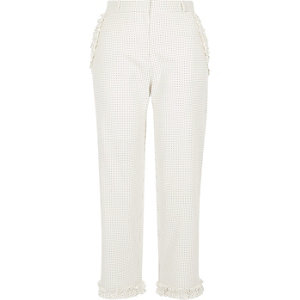 Crème cropped broek met stippen en ruches langs de zoom