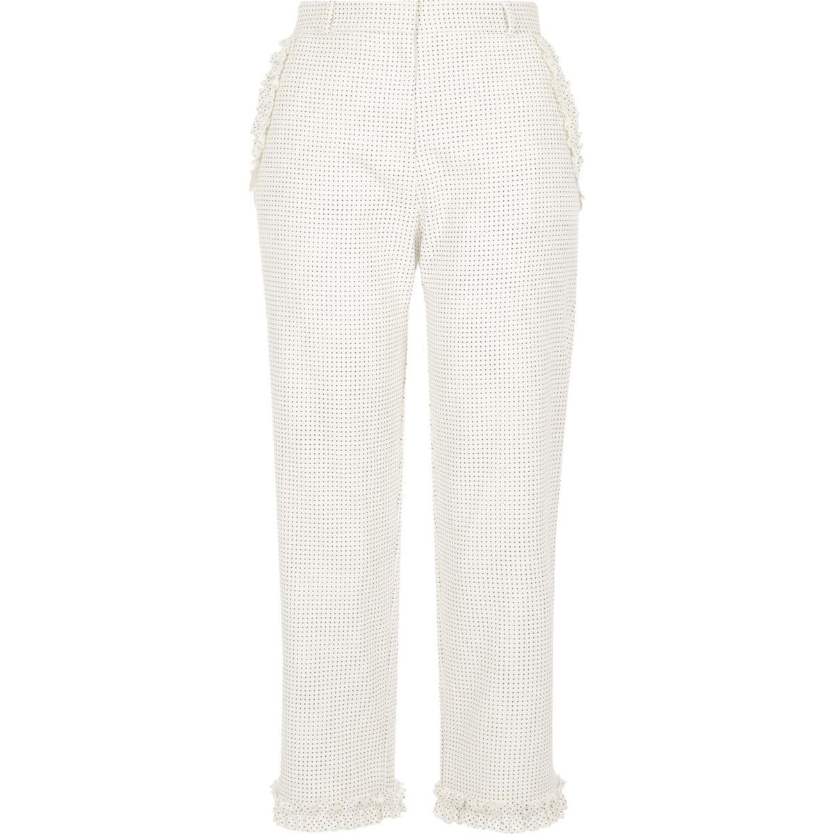 Cream polka dot frill hem cropped trousers