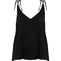 Black bow shoulder cami top