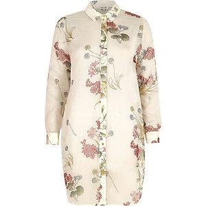 Cream floral print longline chiffon shirt