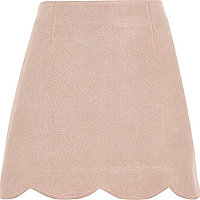 Pink faux suede scallop hem mini skirt