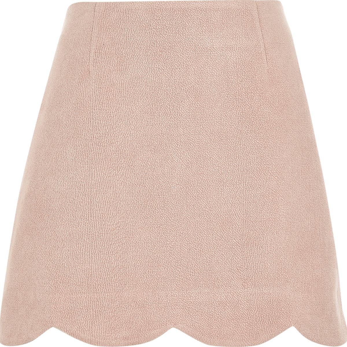 Pink faux suede scallop hem mini skirt