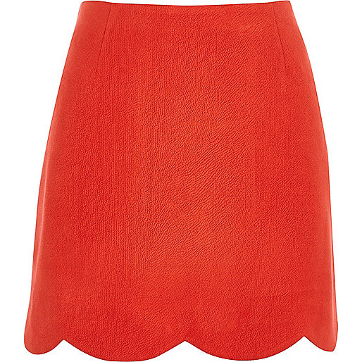 Red faux suede scallop hem mini skirt