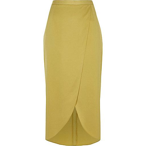 Yellow wrap midi skirt