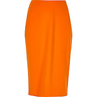 Orange midi pencil skirt
