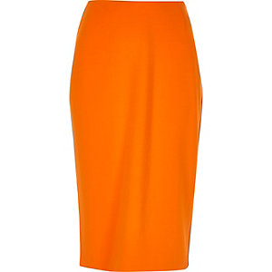 Orange midi pencil skirt
