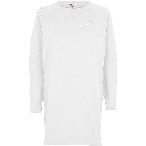 White distressed oversized sweatshirt dress