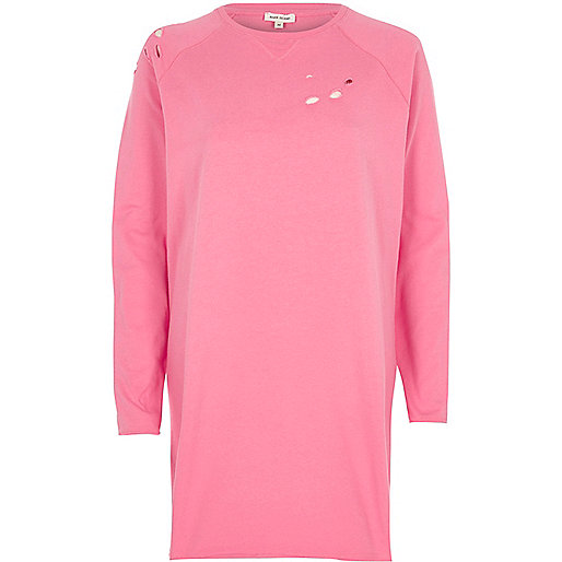 Pink distressed oversized sweatshirt dress