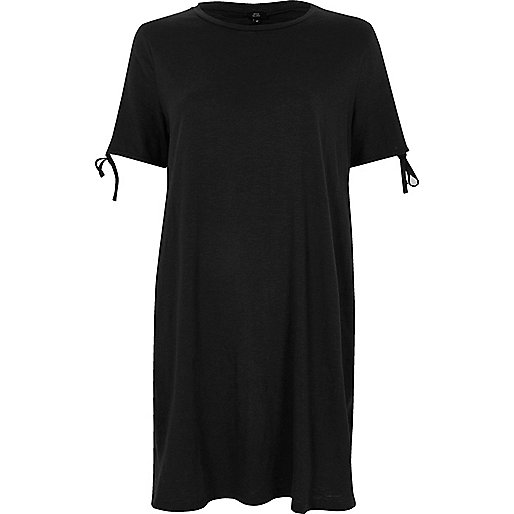 Black washed tie sleeve oversized T-shirt