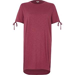 T-shirt oversize rose délavé avec nœuds aux manches