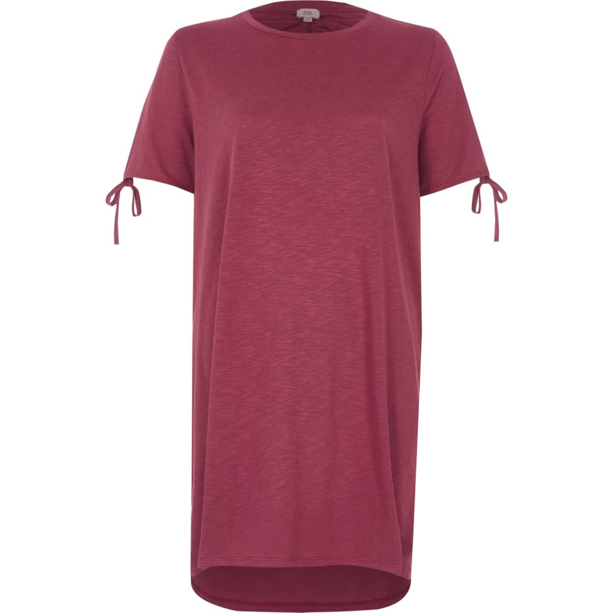 Pink washed tie sleeve oversized T-shirt
