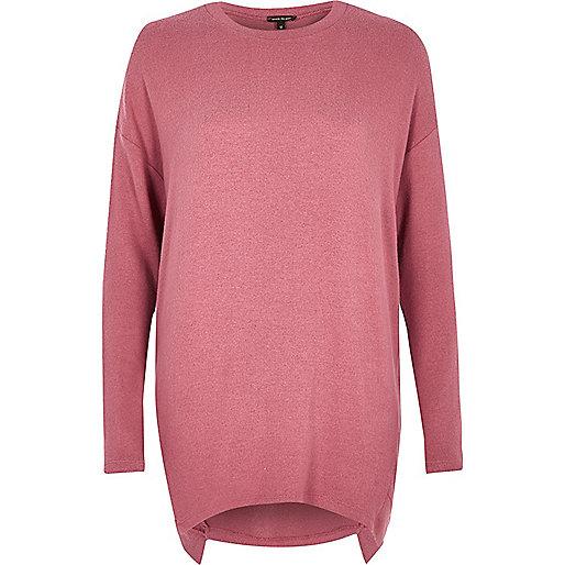 Purple asymmetric hem long sleeve top