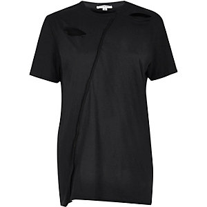 Black spliced loose fit T-shirt