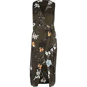 Khaki green floral tie waist wrap midi dress