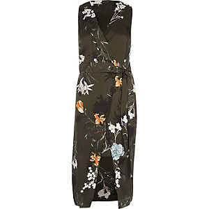 Khaki green floral tie waist wrap midi dress