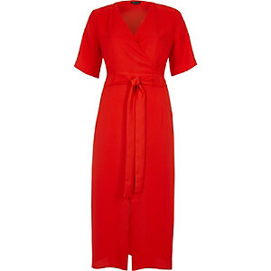 Red wrap tie waist midi dress