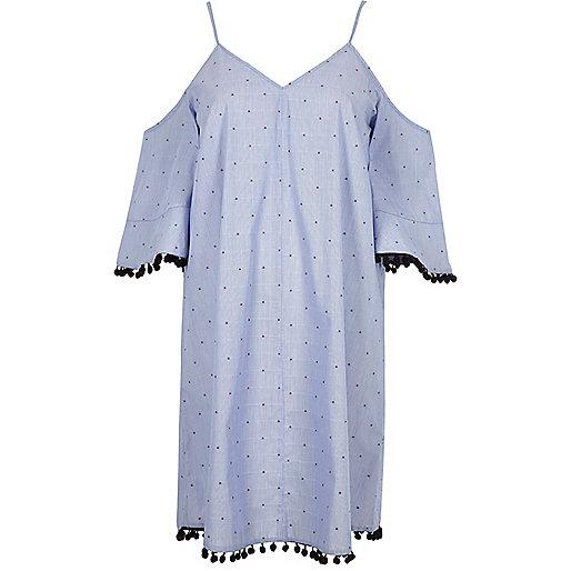 Blue pom pom trim cold shoulder swing dress