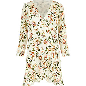 Cream floral print ruffle hem wrap dress