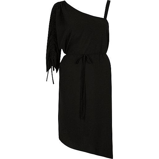 Black one shoulder swing dress