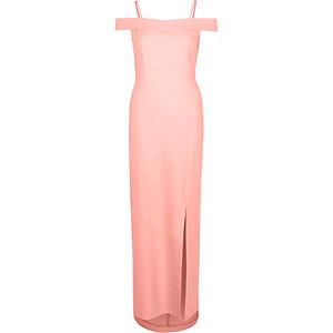 Bardot-Kleid in Korallenrot