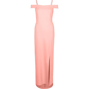Coral bardot maxi dress