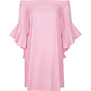 Pink stripe bell sleeve bardot swing dress