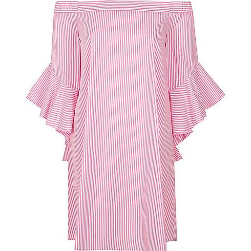 Pink stripe bell sleeve bardot swing dress