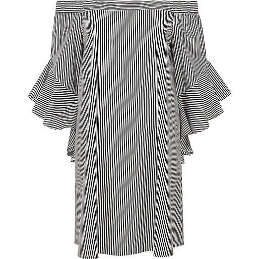 Black stripe bell sleeve bardot swing dress
