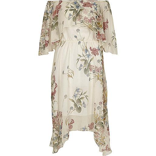 Cream floral print bardot frill sleeve dress