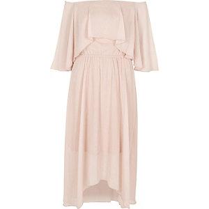 Light beige bardot frill midi dress