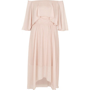 Light beige bardot frill midi dress