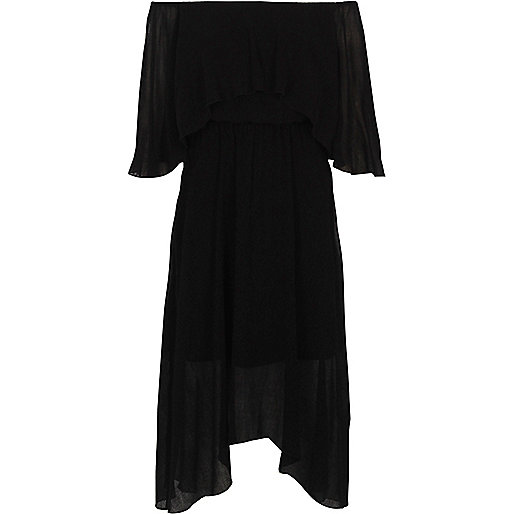 Black bardot frill asymmetric hem midi dress