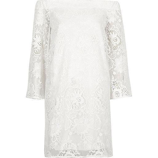 White lace bardot swing dress