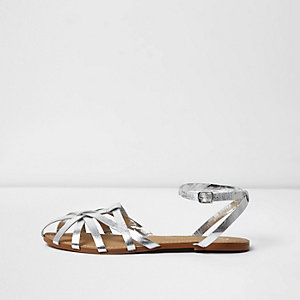 Silver metallic strappy sandals