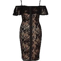 Black and nude lace bardot corset dress